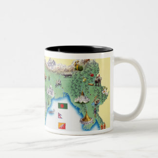 India, map with illustrations showing Two-Tone coffee mug