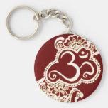 India mehndi red henna basic round button keychain