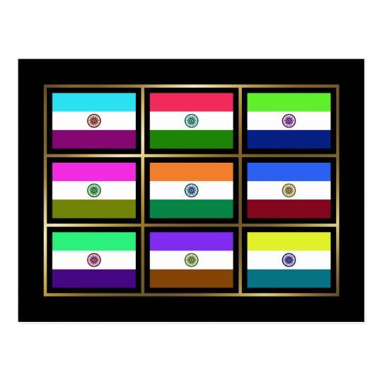 India Multihue Flags Postcard