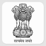India National Emblem Square Sticker