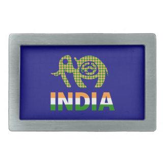 India, painted elephant belt buckle