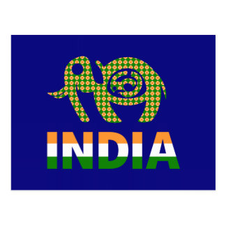 India, painted elephant postcard