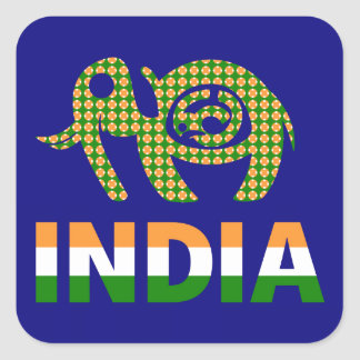 India, painted elephant square sticker