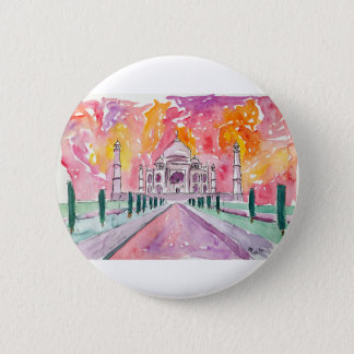 India palace at sunset pinback button