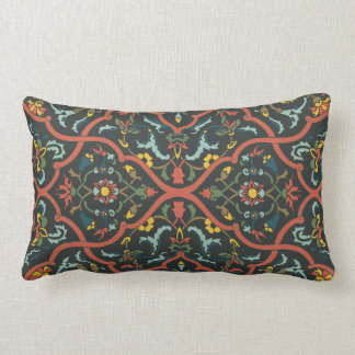 India print pattern in rich colors lumbar pillow