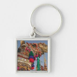 INDIA, Rajasthan, Pushkar: PUSHKAR CAMEL FAIR, Silver-Colored Square Keychain