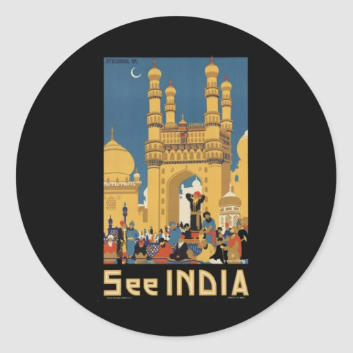 India Round Stickers