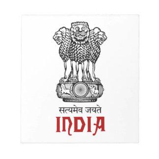 INDIA - seal emblem blazon coat of arms Memo Notepad