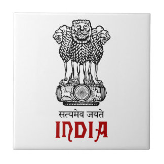 INDIA - seal/emblem/blazon/coat of arms Small Square Tile