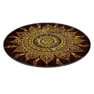 India Solar Motif Sun God Glass Cutting Board