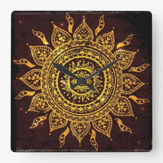 India Solar Motif Sun God Square Wall Clock