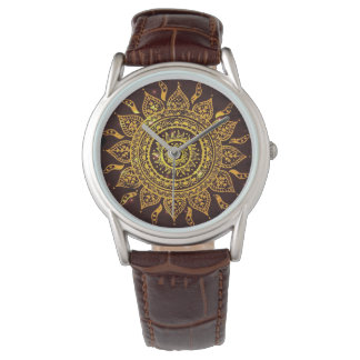 India Solar Motif Sun God Wrist Watch
