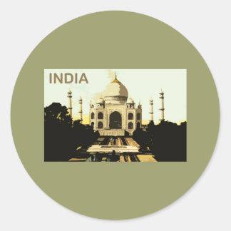 India Taj Mahal Classic Round Sticker
