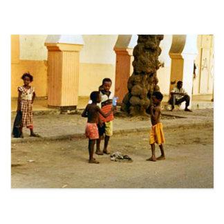 India, temple courtyard postcard