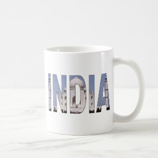 INDIA Text Over Taj Mahal Coffee Mugs