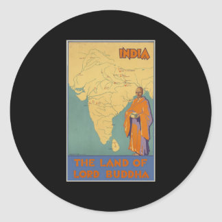 India The land of Lord Buddha Classic Round Sticker
