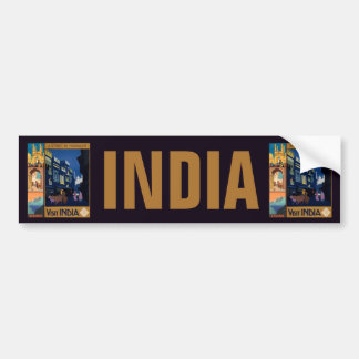 India Travel Poster collage bumpersticker Bumper Sticker
