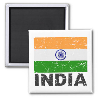 India Vintage Flag 2 Inch Square Magnet