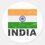 India Vintage Flag Classic Round Sticker