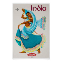 India Vintage Travel Poster Restored
