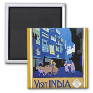 India - Vintage Travel - Visit India 2 Inch Square Magnet