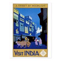 India - Vintage Travel - Visit India Postcard