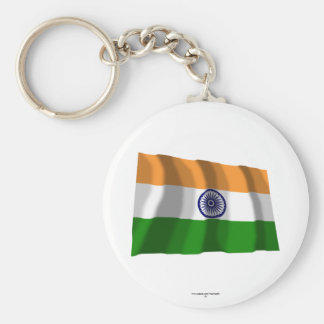 India Waving Flag Basic Round Button Keychain