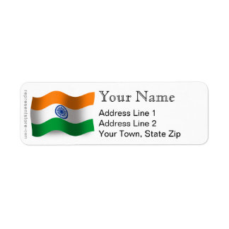India Waving Flag Label