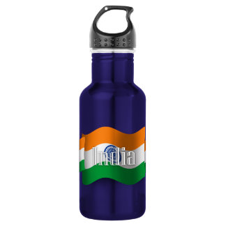 India Waving Flag Stainless Steel Water Bottle
