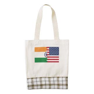 Indian American Flag Zazzle HEART Tote Bag