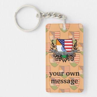 Indian-American Shield Flag Double-Sided Rectangular Acrylic Keychain