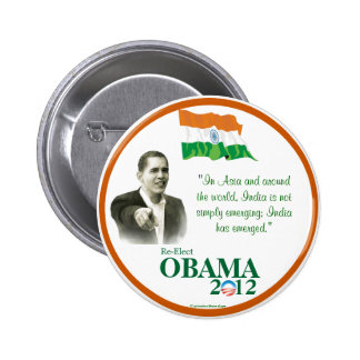 Indian-Americans for OBAMA 2012 political pinback  2 Inch Round Button