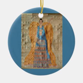 Indian Angel Ornament - Ceramic Round