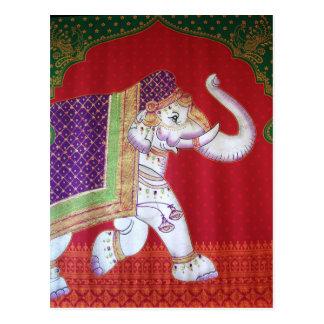 Indian art elephant postcard