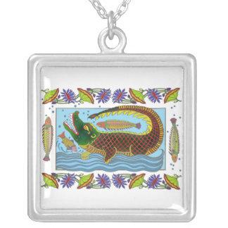 Indian Art Floral Crocodile Necklace
