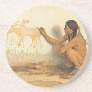 Indian Artist by Couse, Vintage Native American Beverage Coaster