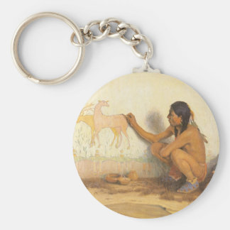 Indian Artist by Couse, Vintage Native American Keychain