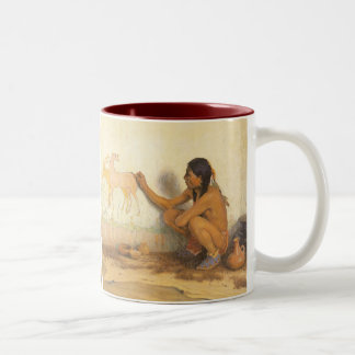 Indian Artist by Couse, Vintage Native American Two-Tone Coffee Mug