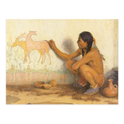 Indian Artist by Couse, Vintage Native American Postcard