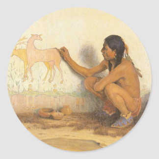 Indian Artist by Couse, Vintage Native American Classic Round Sticker