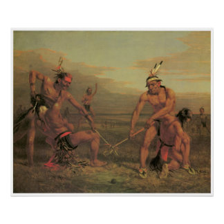 Indian Ball Game, 1843, American West Painting Poster
