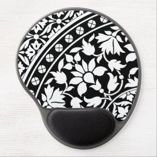 Indian Black and White Floral Geometric Pattern Gel Mouse Pads