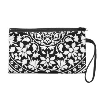 Indian Black and White Floral Geometric Pattern Wristlet
