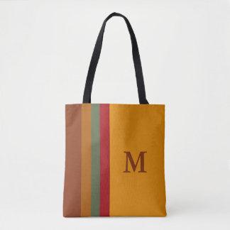 Indian Blanket Palette Stripes Monogram Tote Bag
