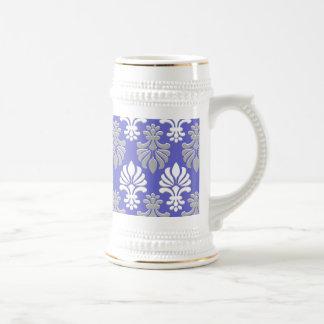 Indian Block Print Floral Pattern - Blue Beer Stein