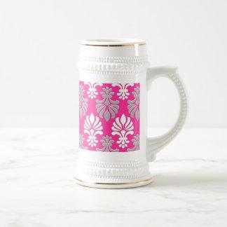 Indian Block Print Floral Pattern - Pink Beer Stein