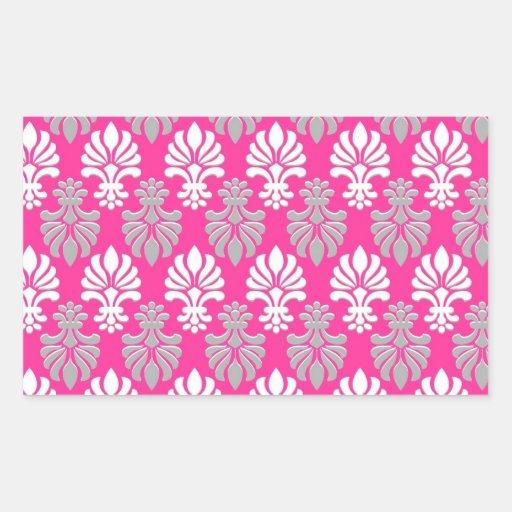 Indian Block Print Floral Pattern - Pink Rectangular Sticker