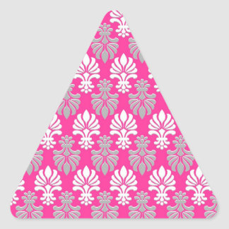 Indian Block Print Floral Pattern - Pink Triangle Sticker