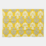 Indian Block Print Floral Pattern - Yellow Hand Towels