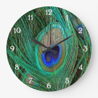 Indian Blue Peacock Feather Large Clock